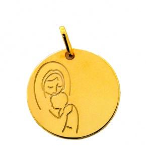 m daille de bapt me en or medaille de la vierge l 39 enfant grav e premier carat. Black Bedroom Furniture Sets. Home Design Ideas